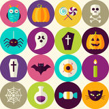 Flat Halloween Trick or Treat Seamless Pattern with Colorful Cir Royalty Free Stock Photo