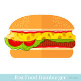Flat hamburger isolated on white Stock Photography