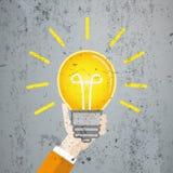 Flat Hand Bulb Big Idea Concrete Royalty Free Stock Photo