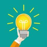 Flat Hand Bulb Big Idea Stock Photography