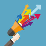 Flat Hand Bullhorn Colored Arrows. Human hand with a bullhorn and colored arrows Stock Illustration