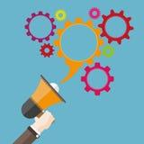 Flat Hand Bullhorn Speech Bubble Gears Stock Images