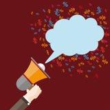 Flat Hand Bullhorn Speech Bubble Percents Stock Photography