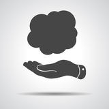 Flat hand with cloud frame Royalty Free Stock Photo