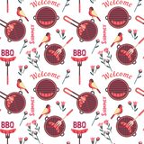 Flat hand drawn barbecue icons seamless pattern vector illustration