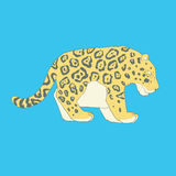 Flat hand drawn icon of a cute jaguar. Animal on blue background. Ideal to use for avatars, decorations, greeting cards, inviting or web design Stock Image