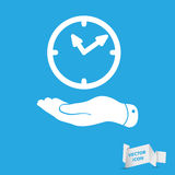 Flat hand giving the clock icon. Vector illustration stock illustration