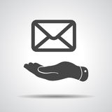 flat hand giving mail icon Royalty Free Stock Image