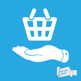 Flat hand giving the shopping basket icon Royalty Free Stock Photos