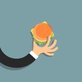 Flat hand with hamburger in cartoon style. Vector EPS10 Stock Photo