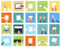 Flat hand icons holding various devices and hands Royalty Free Stock Images