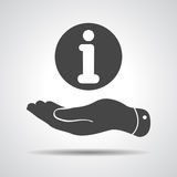 Flat hand with the info icon. Flat hand giving the info icon Stock Images