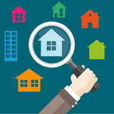 Flat Hand Loupe House Hunting. Human hand with a loupe and houses Royalty Free Stock Image