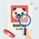 Flat hand with magnification find cute dog from poster. And footmark vector illustration.Missing dog and finding concept Stock Photo