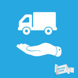 Flat hand presenting delivery truck icon Royalty Free Stock Images