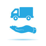flat hand presenting truck icon Royalty Free Stock Photos
