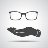 Flat hand represents glasses icon Stock Photo