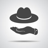Flat hand showing black hat icon. On a grey background vector illustration