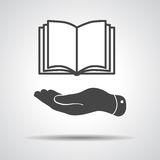 Flat hand showing book icon Royalty Free Stock Photos