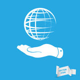 Flat hand showing globe planet icon Royalty Free Stock Photography