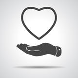 Flat hand showing heart icon Royalty Free Stock Images