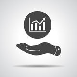 Flat hand showing the icon of graph going up. Illustration royalty free illustration