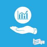Flat hand showing the icon of graph going up Royalty Free Stock Image