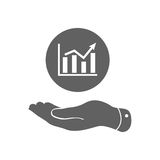 Flat hand showing the icon of graph going up. Vector illustration Royalty Free Stock Image