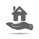 Flat hand showing the icon of home. Illustration stock illustration