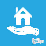 Flat Hand Showing The Icon Of Home Stock Images