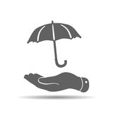 flat hand with umbrella icon Stock Image