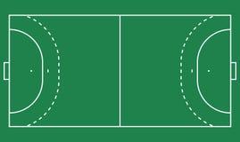 Flat handball field, green grass. Field with line template. Vector Handball stadium. Flat handball field, green grass. Field with line template. Vector Handball Stock Photography