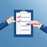 Flat hands and checklist Royalty Free Stock Image