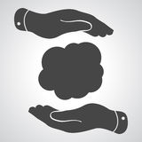 Flat hands with cloud frame Royalty Free Stock Photo