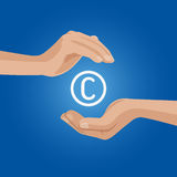 Flat hands Copyright sign mark infringement  Stock Images