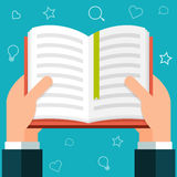 Flat hands holding a book Royalty Free Stock Photos