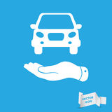 Flat hands showing white car icon Stock Images