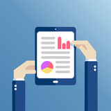 Flat hands and tablet. Hands holding tablet with statistical data presented in the form of digital graphs and charts. Concept financial analysis, statistics Royalty Free Stock Image