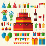 Flat happy Birthday festive background with Stock Photos