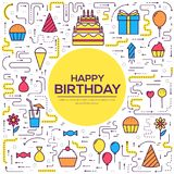 Flat happy Birthday festive background with confetti icons set. Party and celebration elements balloons, cake, drinks. Gifts. Thin lines style design Royalty Free Stock Image