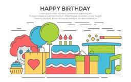 Flat happy birthday festive concept. party invitation concept template. thin line, flat design Stock Photos