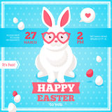 Flat Happy Easter Banner with Rabbit Stock Photo