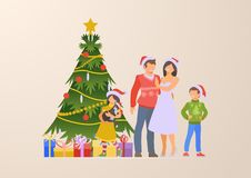 Flat happy family Christmas tree gift boxes vector royalty free illustration