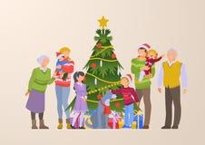 Flat happy family grandparents Christmas tree gift. Flat happy family Christmas tree and gift boxes vector illustration. Winter Holidays New Year Celebrations royalty free illustration