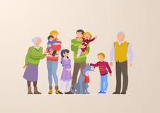 Flat Family portrait vector illustration. Parents royalty free illustration