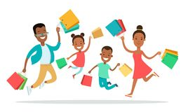95002e393c9af Flat Happy family shopping people with purchases b. Flat Happy family  shopping people with purchases