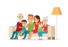 Flat Happy Family watching TV  illustration. Children, parents, grandparents sitting on sofa. Mother, father, grandmother, grandfather, son and daughter Stock Images