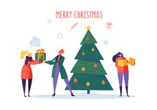 Flat Happy People with Gifts and Christmas Tree. Merry Xmas Holiday Party. Characters Celebrating New Year Eve stock illustration