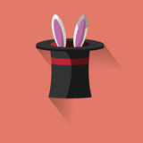 Flat hat icon. Hats and rabbit image.  It may be used as icons Stock Images