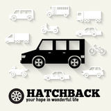 Flat hatchback car concept set icon backgrounds Stock Photos